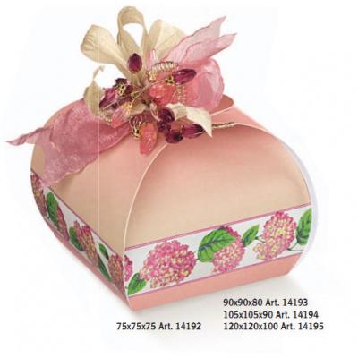 Коробка розовая с рисунком, панеттон, арт.14195