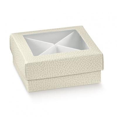 Коробка белая, крышка-дно с окном, арт.14436