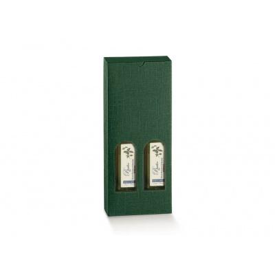 Коробка зеленая, для двух бутылок масла, арт.30574
