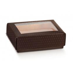 Коробка коричневая, крышка-дно с окном, арт.36931