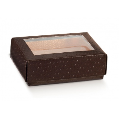 Коробка коричневая, крышка-дно с окном, арт.36932
