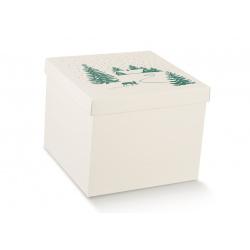 Коробка белая с рисунком, с крышкой, арт.12931