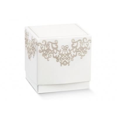 Коробка жемчужно-белая, кубик, арт.17064