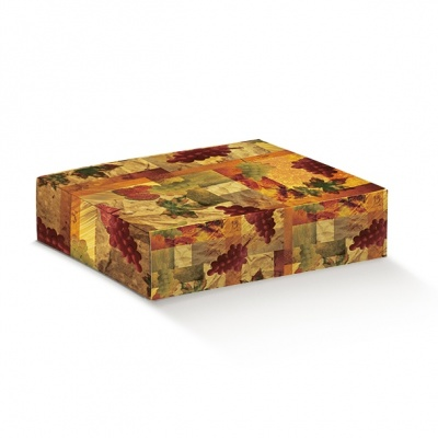 Коробка оранжевая с рисунком, на 3 бутылки, арт.33667