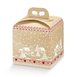Коробка бежевая, панеттон, арт.34786