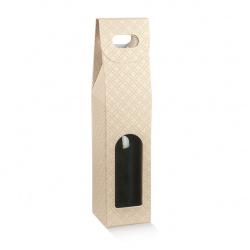 Коробка бежевая, на 1 бутылку, арт.37541