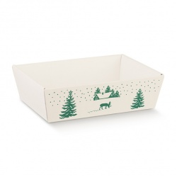 Коробка белая с рисунком, лукошко, арт.12949