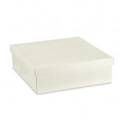 Коробка жемчужно-белая, с крышкой, арт.36394