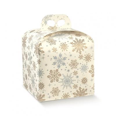 Коробка белая с рисунком, панеттон, арт.38224