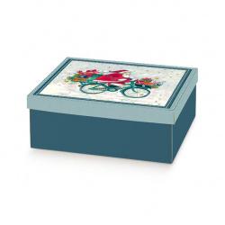 Коробка синяя с рисунком, с крышкой, арт.37773