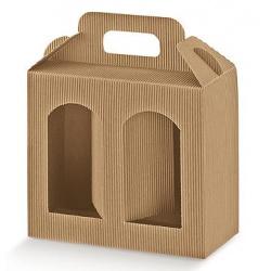 Коробка крафт, под 2 банки, арт.35369