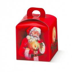 Коробка красная с рисунком, панеттон, арт.30976