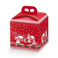 Коробка красная с рисунком, панеттон, арт.37115