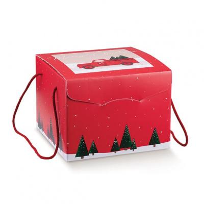 Коробка красная с рисунком, сундук, арт.37129