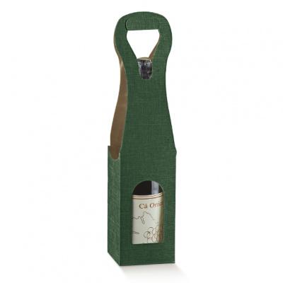 Коробка зеленая, на 1 бутылку, арт.30642