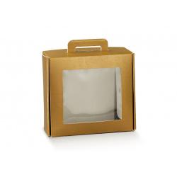 Коробка золотая, чемодан с окном, арт.38413