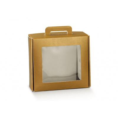 Коробка золотой, чемодан с окном, арт.38413