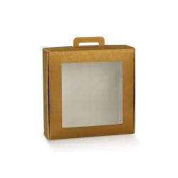 Коробка золотая, чемодан с окном, арт.38414