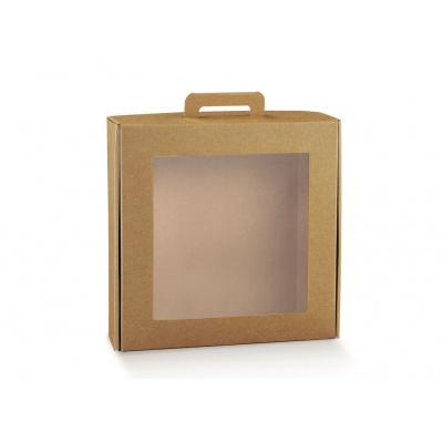 Коробка крафт, чемодан с окном, арт.38527