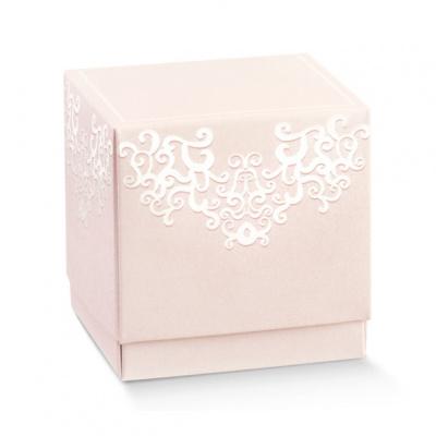 Коробка розовая, кубик, арт.17070