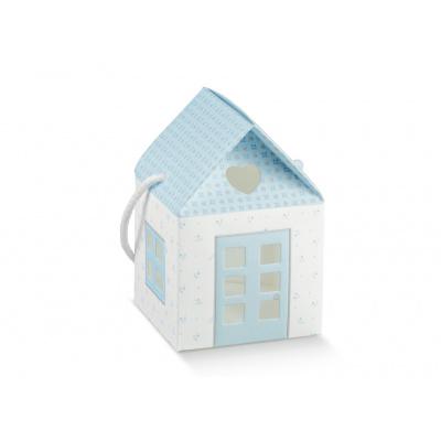 Коробка голубая, домик, арт.17503С