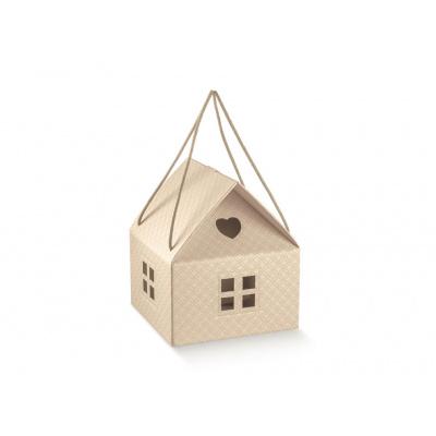 Коробка бежевая, домик, арт.37598