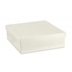 Коробка жемчужно-белая, с крышкой, арт.36379