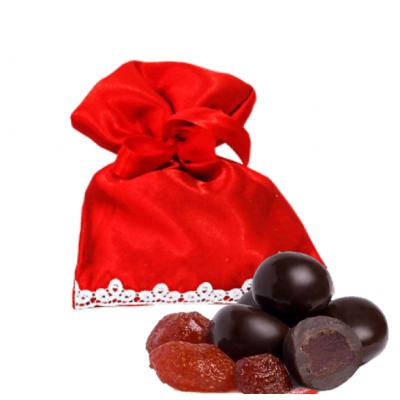Драже клубника в белом шоколаде в красном мешочке