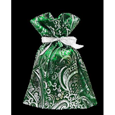 Мешочек декоративный из зеленой парчи