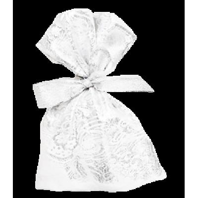 Декоративный мешочек для подарков на Новый Год серебрянный