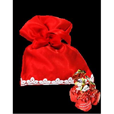 Атласный мешочек красный для подарков на Новый Год