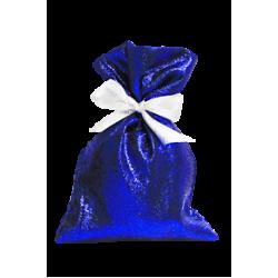 Мешочек синий парчовый для новогодних подарков