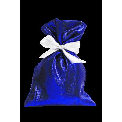 Синий парчовый мешочек для новогодних подарков