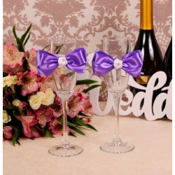 Свадебные бокалы «Сиреневые розы»